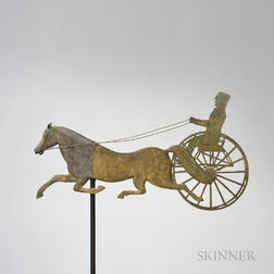 Molded and Sheet Copper Horse and Sulky Weathervane