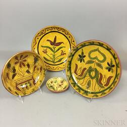 Four Small Lester Breininger Scraffito or Slip-decorated Redware Plates