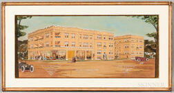 American School, 20th Century      Architectural Watercolor Rendering