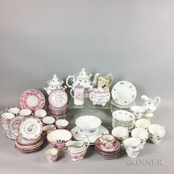 Approximately 100 Pieces of Pink Lustre Ceramic Tableware.     Estimate $200-250