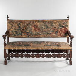 Baroque-style Walnut Tapestry Upholstered Settee