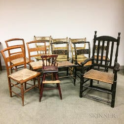 Eleven Mostly Painted Country Chairs