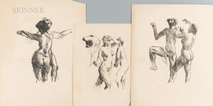 Lovis Corinth (German, 1858-1925)      Three Lithographs of Figures in Motion: Motion Study ,  Dancing Couple I