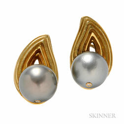 18kt Gold, Tahitian Pearl, and Diamond Earclips, Christopher Walling
