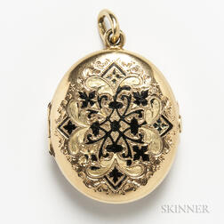 14kt Gold and Enamel Locket