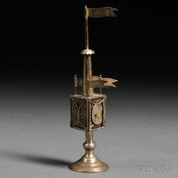 Polish Silver and Silver Filigree Tower-form Spice Container