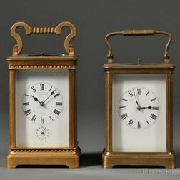 Two French Hour-repeating Carriage Clocks