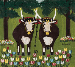 Maud Lewis (Canadian, 1903-1970)      Two Oxen by a Tulip Garden