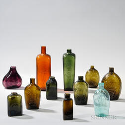 Eleven Blown and Molded Flasks and Bottles