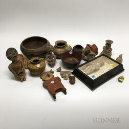 Approximately Eighteen Pre-Columbian-style Pottery Items.     Estimate $200-400