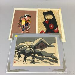 Three Modern Woodblock Prints