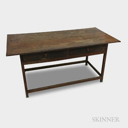 Country Walnut and Pine Stretcher-base Two-drawer Tavern Table