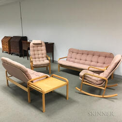 Five Pieces of Kline Design Upholstered Maple Furniture