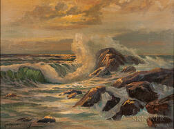 Constantin Aleksandrovich Westchiloff (Russian, 1877-1945)    Waves on Rocks in Rosy Light
