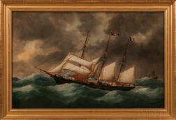 Edward Adam (American, act. Late 19th/Early 20th Century)      Three-masted Vessel in Rough Seas