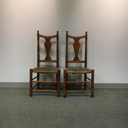 Two Queen Anne Maple Yoke-back Side Chairs