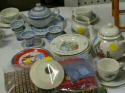 Child's Table, Chairs, and Miscellaneous Dinnerware