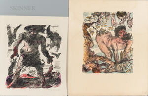 Lovis Corinth (German, 1858-1925)      Two Lithographs on Old Testament Themes: Achior Hanged from a Tree
