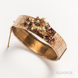 14kt Gold, Diamond, and Garnet Hinged Bangle