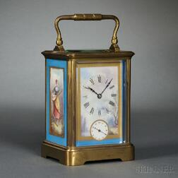 Brass Carriage Clock with Porcelain Panels