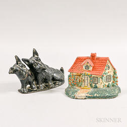 Polychrome Cast Iron Cottage Doorstop and Scotty Dog Doorstop