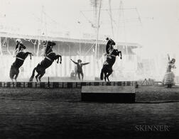 Edward W. Quigley (American, 1898-1977)      Three Photographs of Circus Subjects: Clown ,  Performing Horses