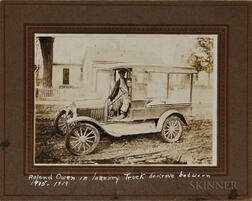 Mounted Photograph Depicting a Laundry Truck with an African American Driver