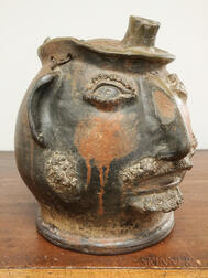 Rare Pottery Portrait Face Jug of L.W. Berry