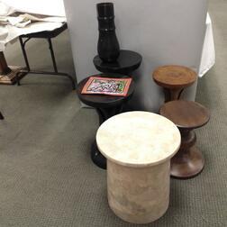 Five Carved Wood Stools and a Sequined Hat