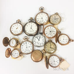 Thirteen American Open-face and Hunter-case Pocket Watches
