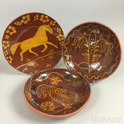 Three Lester Breininger Scraffito or Slip-decorated Redware Plates