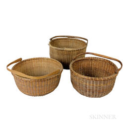 Three Nantucket Deep, Round, Swing-handled Baskets