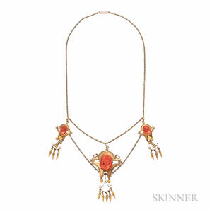 Gold and Coral Cameo Necklace