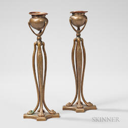 Pair of Tiffany Studios Dore Candlesticks
