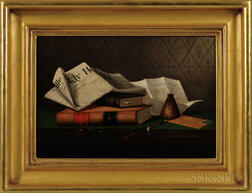 American School, Late 19th Century      Still Life with Law Books, Letter, and Newspaper