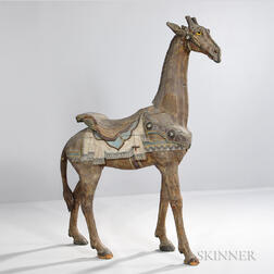 Carved and Painted Carousel Figure of a Giraffe