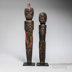 Batak Pair of Male and Female Standing Figures, Pagar