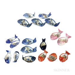 Eighteen Chinese Export Porcelain Fish Dishes