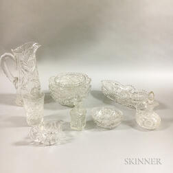 Approximately Sixty-five Colorless Cut Glass Tableware Items.     Estimate $300-500