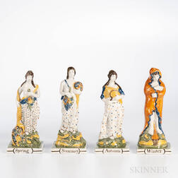 Set of Four Pratt-type Pearlware Figures of the Seasons