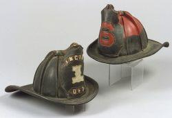 Two Cairns & Bros. Leather Eagle Firefighter's Helmets