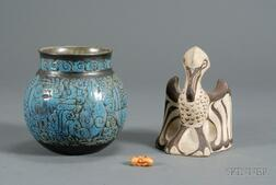 Shearwater Vase, Small Crab Figure and Pelican
