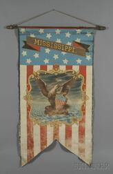 Polychrome-painted Centennial Banner Depicting the State Seal of Mississippi
