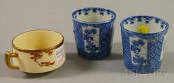 Pair of Japanese Blue and White Transfer-decorated Porcelain Cups and a Satsuma Coffee Cup.