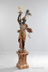 Standing Blackamoor Figure on Pedestal