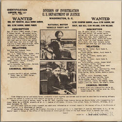 Parker, Bonnie (1910-1934) and Clyde Barrow (1909-1934) Wanted Poster, Division of Investigation, U.S. Department of Justice, May 21, 1