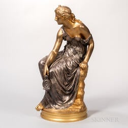 After Etienne-Henri Dumaige (French, 1830-1888)    Silvered and Gilded Bronze Figure of a Classical Maiden with Oil Lamp