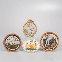 Four Pratt-type Pearlware Plaques