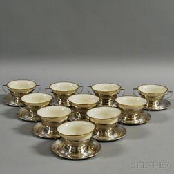 Set of Ten Sterling Silver Gorham Dishes and Saucers