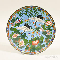 Cloisonne Charger with Cranes